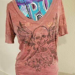 Tops - Pink skull short sleeve Tshirt Med